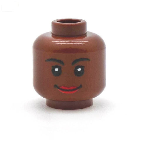 Closed Smile with Short Eyelashes Female (Brown) - Custom Printed LEGO Minifigure Head