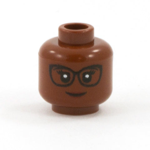 Female Head with Cat Eye Glasses (Dark Flesh Skin Tone) - Custom Printed LEGO Minifigure Head