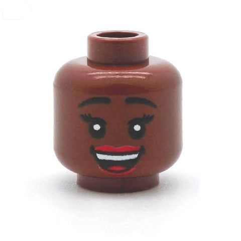 Cheerful Smile Female (Brown) - Custom Printed LEGO Minifigure Head