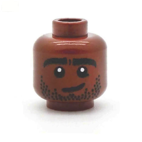 Handsome Stubble (Brown) - Custom Printed LEGO Minifigure Head