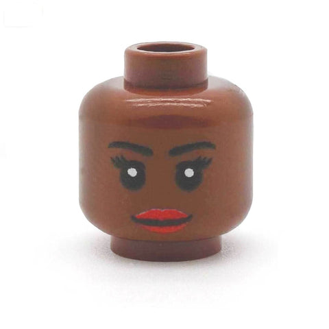 Female Long Eyelashes Full Lips (Brown) - Custom Printed LEGO Minifigure Head