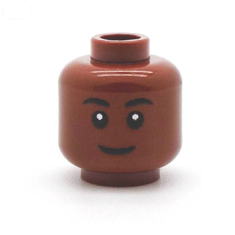 Regular Closed Smile (Brown) - Custom Printed LEGO Minifigure Head