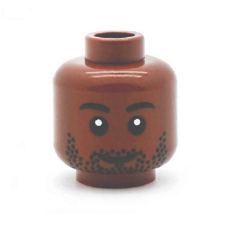 Head with Stubble (Brown) - Custom Printed LEGO Minifigure Head