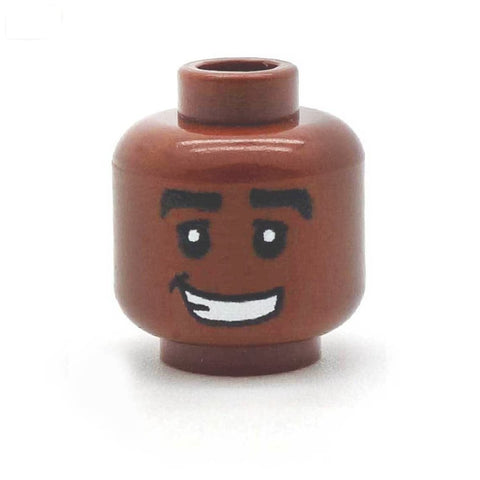 Cheesy Smile with Thick Eyebrows (Brown) - Custom Printed LEGO Minifigure Head