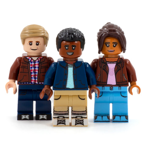 Trio of Time Travelling Companions (Ryan, Yaz and Graham) - Custom Design Minifigure Set