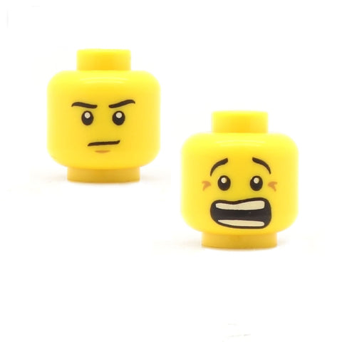 Serious / Shocked (Double Sided) - LEGO Minifigure Head