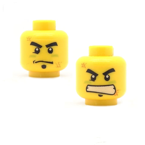 Determined / Angry (Double Sided) - LEGO Minifigure Head