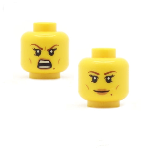Female Chiseled Cheekbones Angry / Smiling (Double Sided) - LEGO Minifigure Head