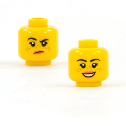 Female Freckles Grumpy / Open Smile Double Sided Head - LEGO Minifigure Head