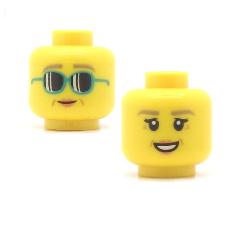 Female Face Big Sunglasses / Happy Face with Light Eyebrows (Double Sided) LEGO Minifigure Head