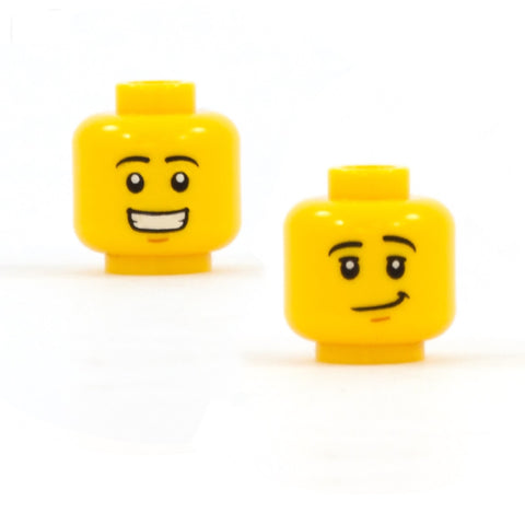 Male Huge Open Smile / Wry Smile Face Double Sided Head - LEGO Minifigure Head