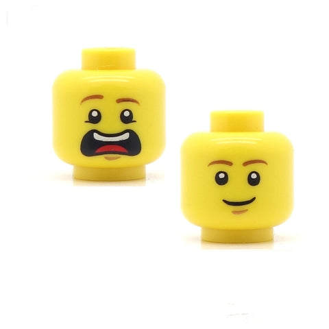 LEGO Double sided closed smile / arggghhh! Head - LEGO Minifigure Head
