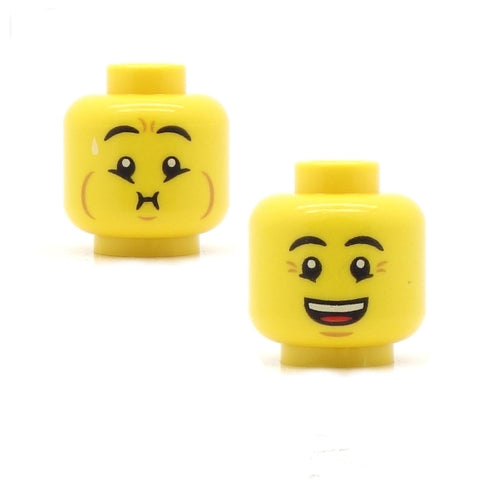 Holding Breath or Feeling Sick / Very Happy (Double sided) LEGO Minifigure Head