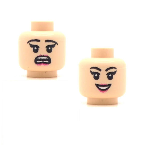 Scared / Female Open Smile, Pale Lips (Light Flesh Double Sided) Custom Printed Minifigure Head
