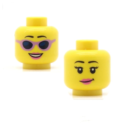 "Pink Sunglasses Smile / ""Hmmm"" Pink Lips (Double Sided) LEGO Minifigure Head"