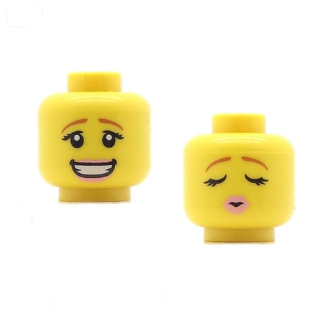 "Female Wide Open Smile / ""Kissy Face"" (Double Sided) LEGO Minifigure Head"