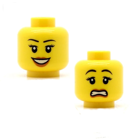 "Female Open Smile Dark Eyebrows / ""Whoops"" (Double Sided) LEGO Minifigure Head"