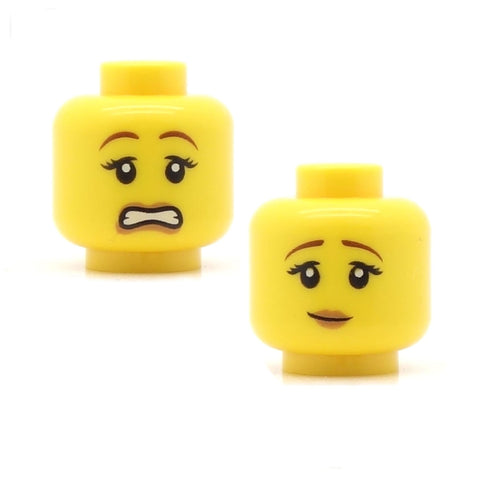 "Female ""Whoops"" Fair Eyebrows / Wry Smile (Double Sided) - LEGO Minifigure Head"