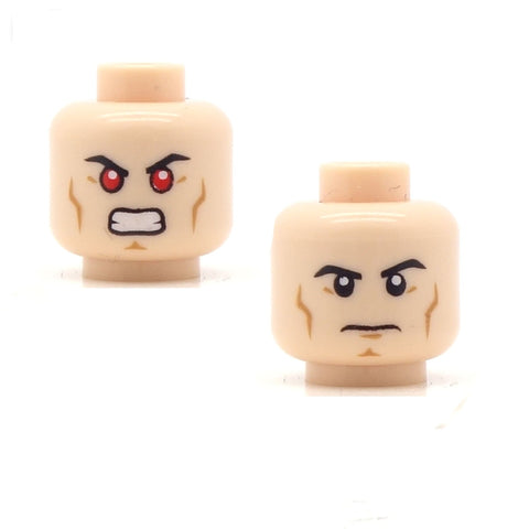 Hardened Frown/Angry Red Eyes! (Light Flesh Double Sided) LEGO Minifigure Head
