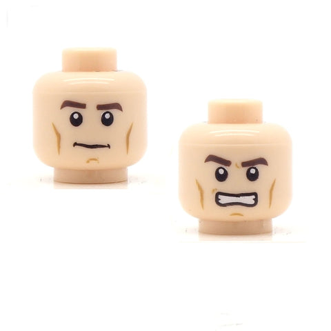 Chiseled Cheekbones Smirk / Angry (Light Flesh Double Sided) LEGO Minifigure Head