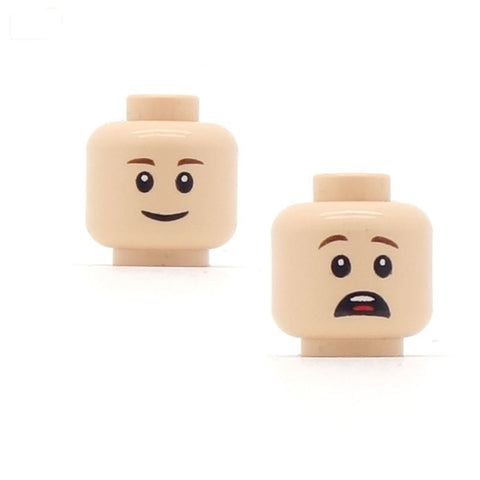 Closed Smile / Distressed (Light Flesh Double Sided) LEGO Minifigure Head