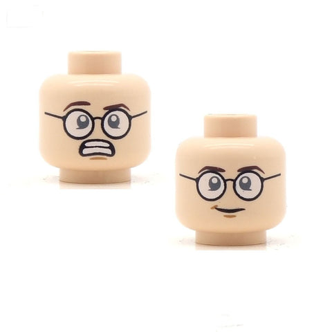 Round Glasses Worried / Smile (Light Flesh Double Sided) LEGO Minifigure Head