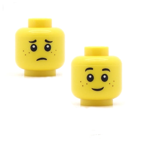 LEGO New Yellow Female Minifigure Head Double Sided Smile Crying Face