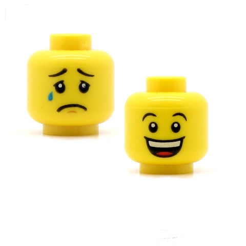 Super Happy / Crying (Double Sided) LEGO Minifigure Head