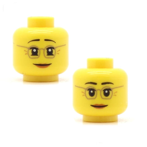 Female Reading Glasses, Raised Eyebrows and Smile / Lowered Eyebrows and Smile (Double Sided) LEGO Minifigure Head