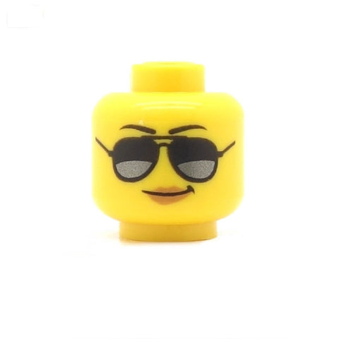 Female Head with Aviator Sunglasses and Smirk - LEGO Minifigure Head