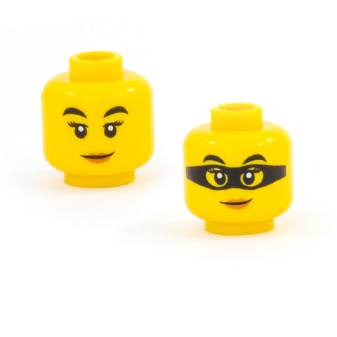 Female Head with Knowing Smile / Superhero Mask (Double Sided) (Yellow Skin Tone) - LEGO Minifigure Head
