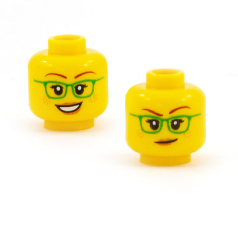 Female Face with Green Glasses and Freckles Open Smile / Smirk (Double Sided) - LEGO Minifigure Head