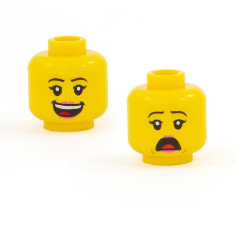 Female Head with Huge Open Smile / Look of Alarm (Double Sided) (Yellow Skin Tone) - LEGO minifigure head