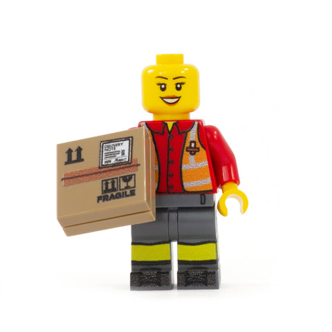Personalised UK Postal Worker Minifigure (No Hair) - Custom Design Minifigure