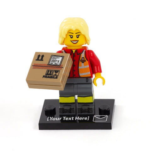 Personalised UK Postal Worker Minifigure (No Hair) - Custom Design LEGO Minifigure