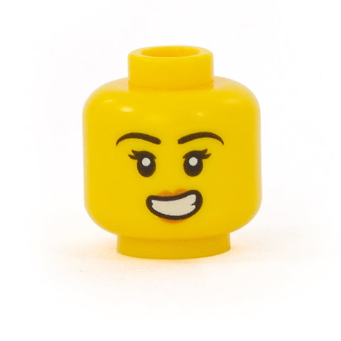 Female Head with Wide, Uncertain Smile - LEGO Minifigure Head
