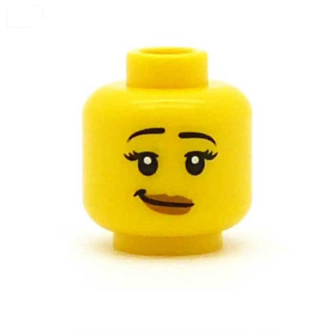 Wry Smile with Long Lashes and Dark Eyebrows LEGO Minifigure Head