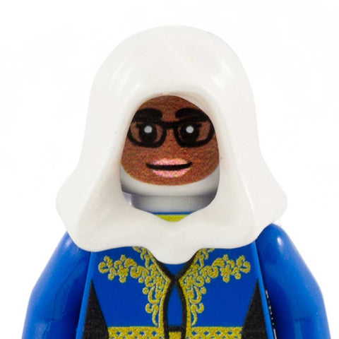 Female Face with Glasses to go with Headscarf (Dark Skin Tone) - Custom Printed LEGO Minifigure Head