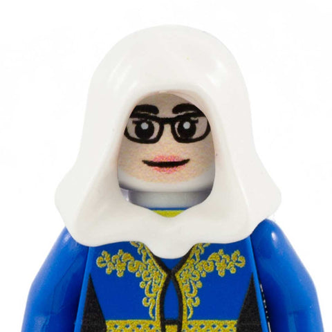 Female Face with Glasses to go with Headscarf (Light Skin Tone) - Custom Printed Minifigure Head