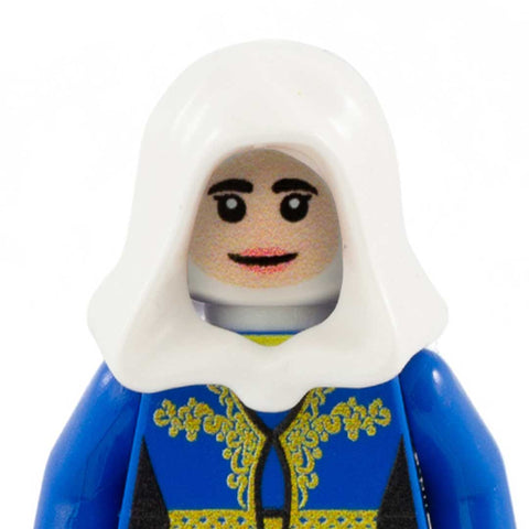 Female Face with Glasses to go with Headscarf / Hood / Hijab / Wimple (Light Flesh Skin Tone) - Custom Printed LEGO Minifigure Head