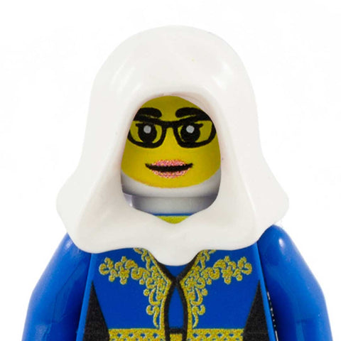 Female Face with Glasses to go with Headscarf (Yellow Skin Tone) - Custom Printed LEGO Minifigure Hea