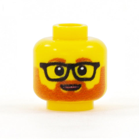 Ginger Beard with Glasses and Cute Open Smile - Custom Printed Minifigure Head
