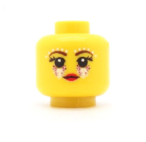 Glittery Festival Eyes with Long Lashes - Custom Printed LEGO Minifigure Head