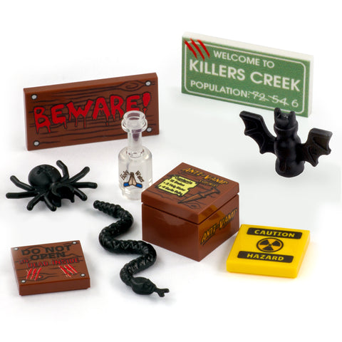 LEGO Spooky Halloween Pack - Custom Design Tiles and LEGO Accessories