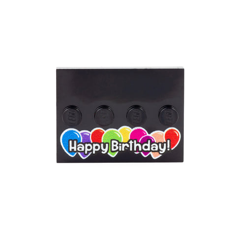Happy Birthday Baseplate with Balloons - Custom Printed LEGO Baseplate to display your minifigure