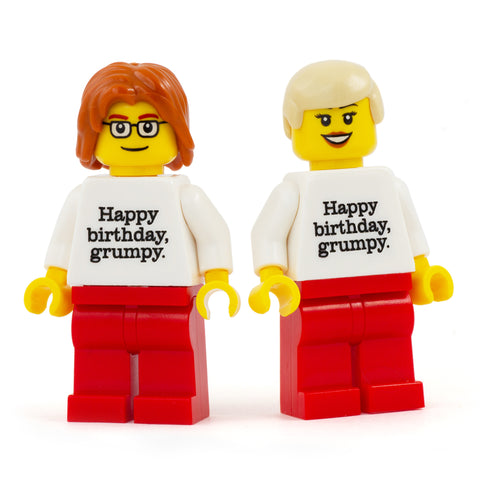 Happy Birthday Grumpy Personalised Minifigure - Custom Design Minifigure