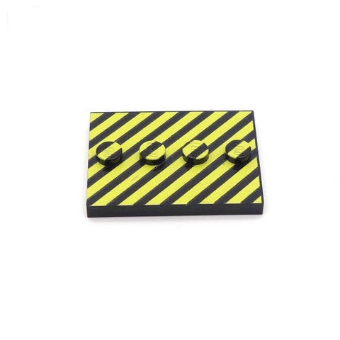 Little Black and Yellow Hazard Baseplate Custom Printed LEGO Baseplate