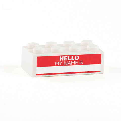 Hello My Name is .... Display Brick - Custom Printed 2x4 LEGO Brick, Minifigure Display