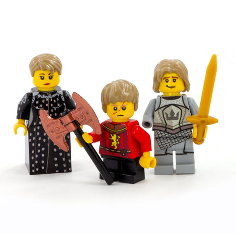 House Lannister: Jaime, Cersei, Tyrion. Game of Thrones Custom Design LEGO Minifigures