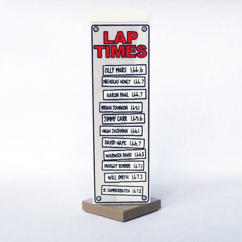 Lap Times Leader Board - Custom Printed LEGO Accessory, Based on Top Gear